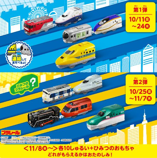 【2019年】ハッピーセット『プラレール』のおもちゃの販売スケジュール~その1(通常版)