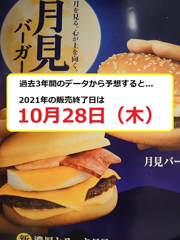 2021年の月見バーガー販売終了日